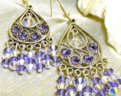 Purple Crystal Chandelier Earrings